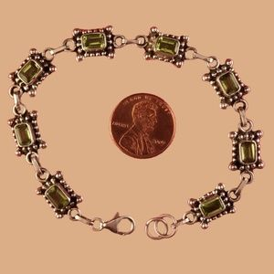 Sterling Bracelet with Peridot Stones